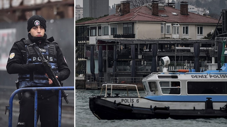 Delad bild: En polisman och en polisbåt framför nattklubben vid Bosporen.