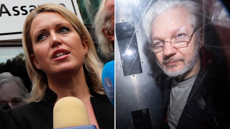 Till vänster: En av Julian Assanges advokater Jennifer Robinson. Till höger: Julian Assange.