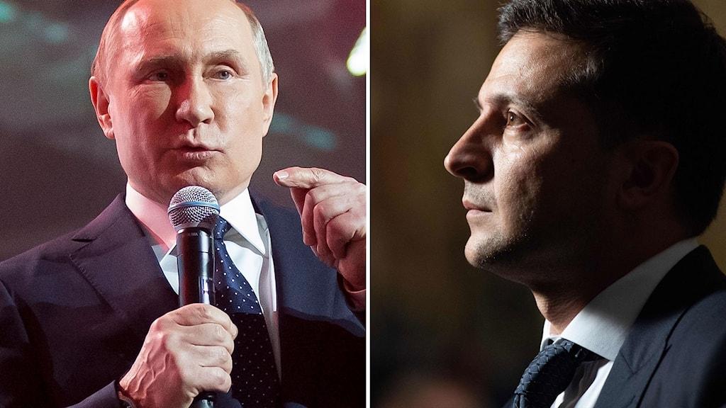 Rysslands president Vladimir Putin och Ukrainas ledare  Volodymyr Zelenskyj.