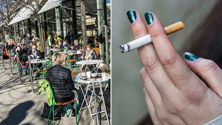 En uteserveringen en vårdag och en person som röker.