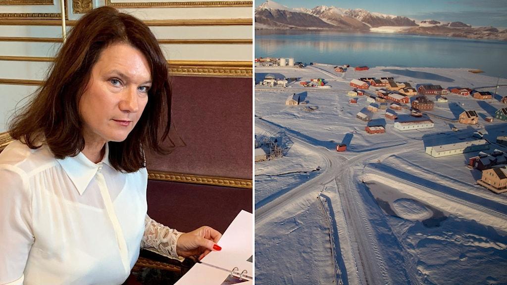 Delad bild: Ann Linde, samhälle på Svalbard med snötäckta berg i bakgrunden.
