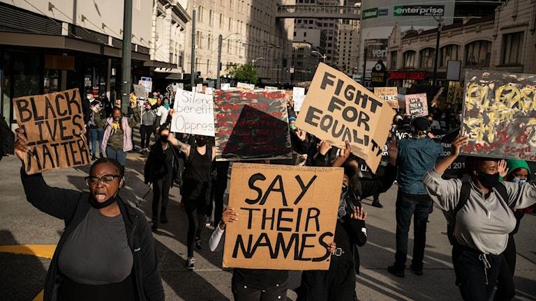 Protester i Seattle, USA.