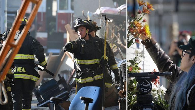 Delad bild: Brandmän i röjningsarbete och en kvinna som lämnar blommor för att hedra offren.