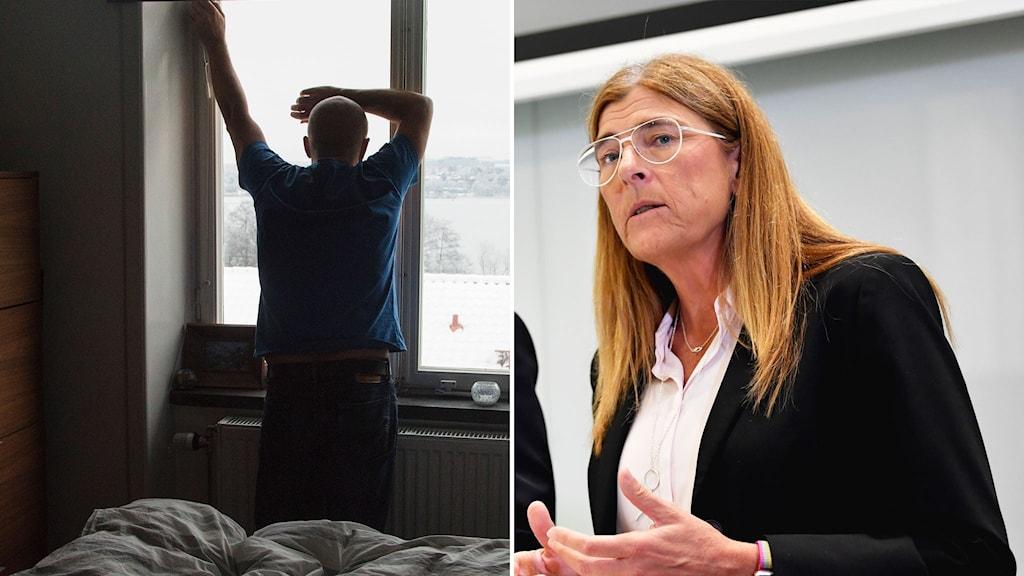 man tittar ut genom fönstret och kvinna håller presskonferens