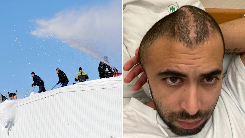 Snöskottare, och Mustafa som ramlade ned från ett tak och skadades allvarligt.