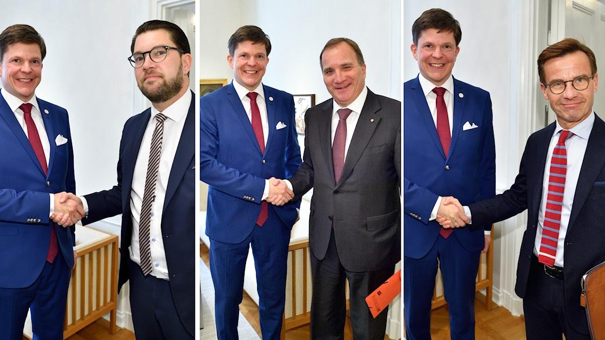 Socialdemokraternas Stefan Löfven, Moderaternas Ulf Kristersson och Sverigedemokraternas Jimmie Åkesson hos talmannen.