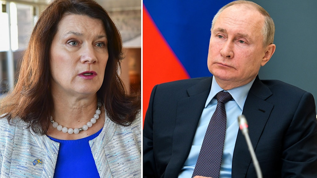 Sveriges utrikesminister Ann Linde och Rysslands president Vladimir Putin.