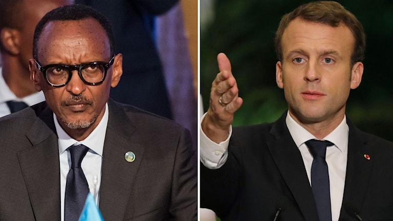 Paul Kagame och Emmanuel Macron.