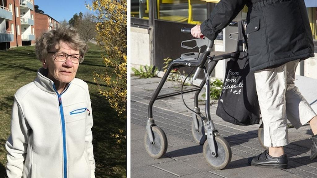 Bild på Birgit Eriksson och person med rullator.