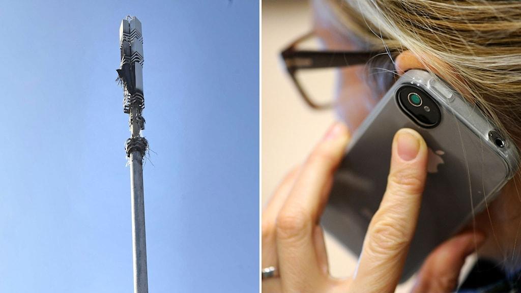 mobilmast och kvinna med mobiltelefon