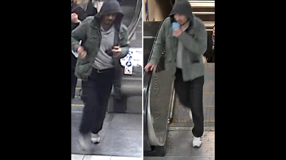Polisens bilder på mannen de vill komma i kontakt med.