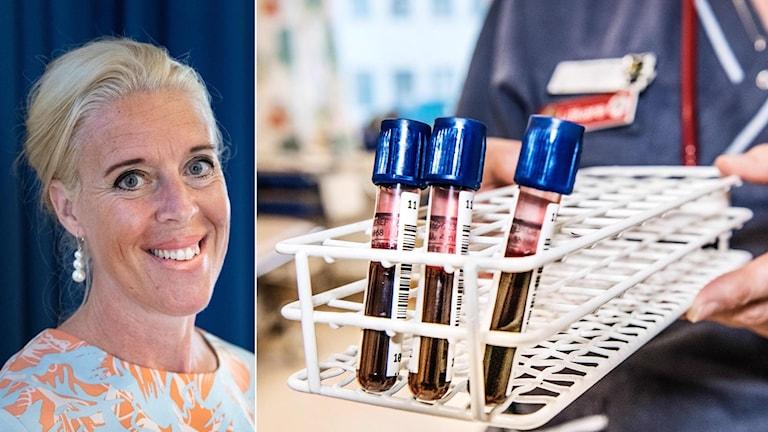 Kollage, läkaren Ulrika Wallgren och bild på blodprov