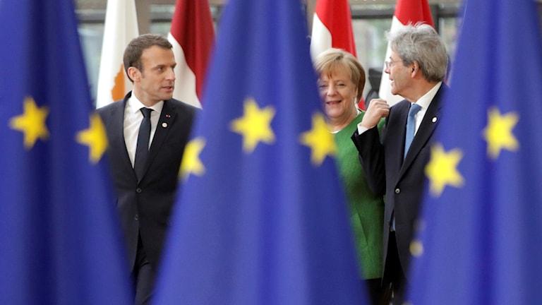 Frankrikes Macron, Tysklands Merkel och Italiens Gentiloni.