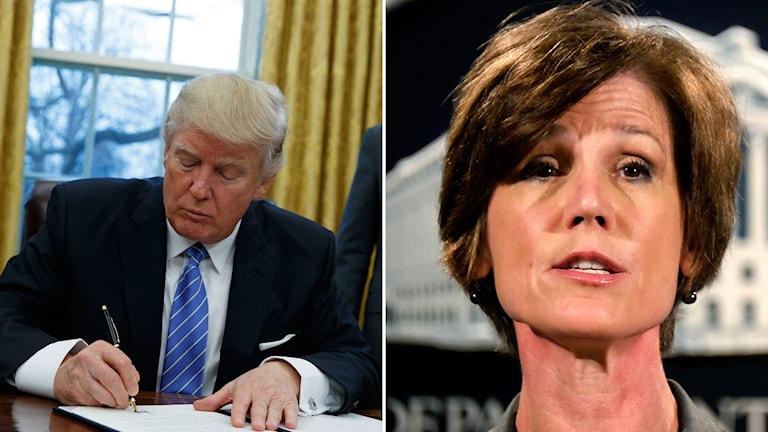 USA:s tillförordnade justitieminister Sally Yates sparkas av Trump Foto: TT