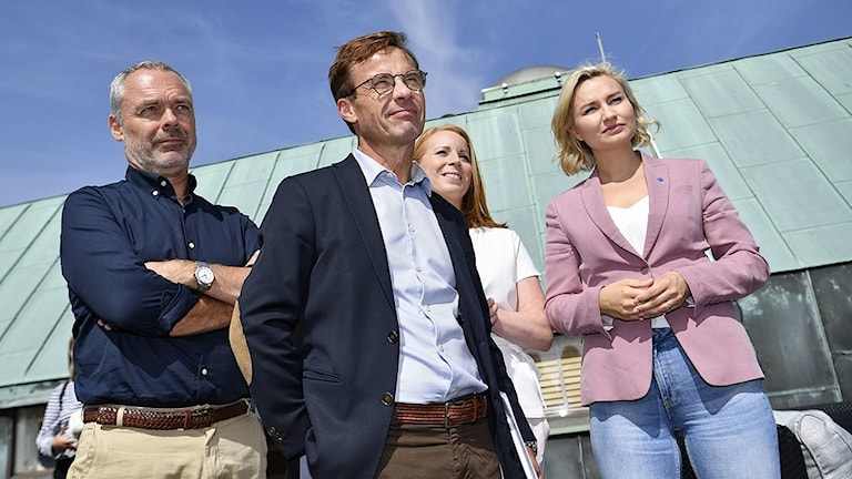 Alliansens partiledare Jan Björklund (L), Ulf Kristersson (M), Annie Lööf (C) och Ebba Busch Thor (KD) under måndagens besök i Malmö.