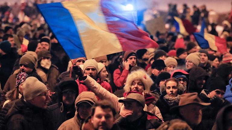 Massprotester i Rumänien.