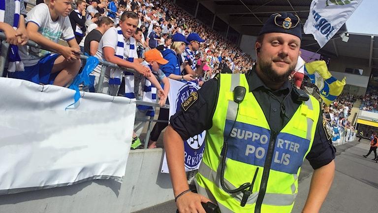 Johan Schollin supporterpolis i Norrköping.
