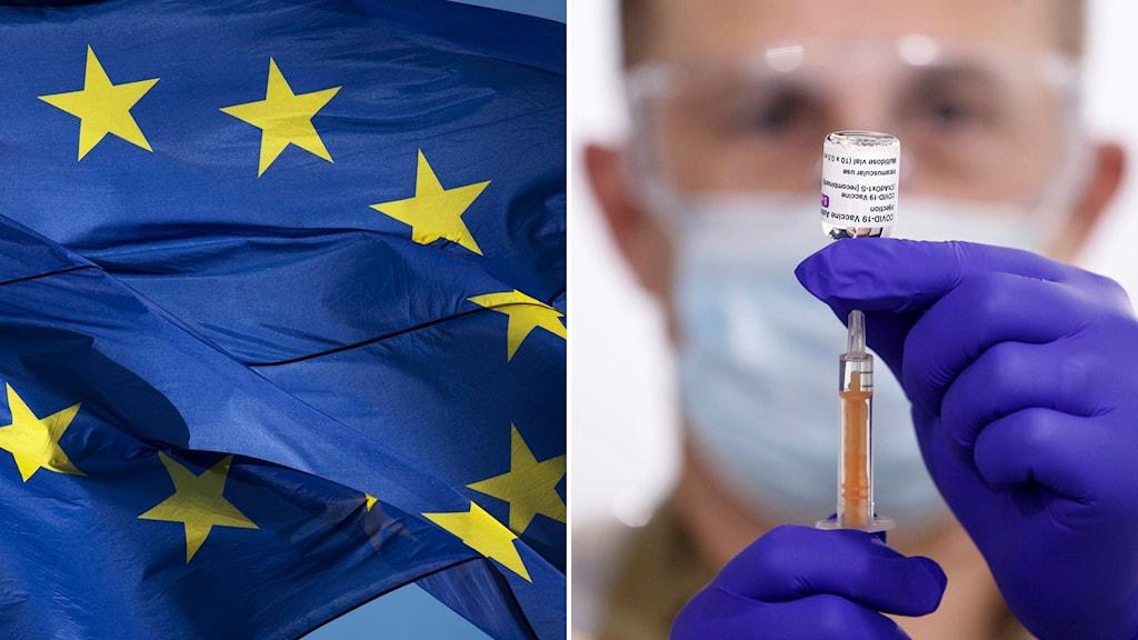 EU flagga och en person som förbereder en vaccinspruta.