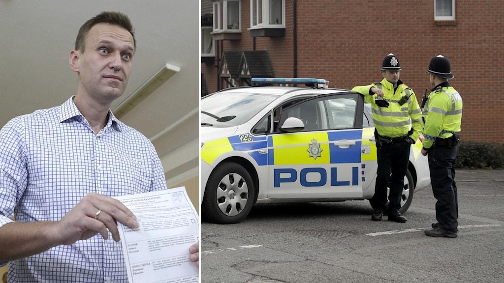 Polis utanför den tidigare ryske agenten Sergej Skripals hem i Salisbury 2018.