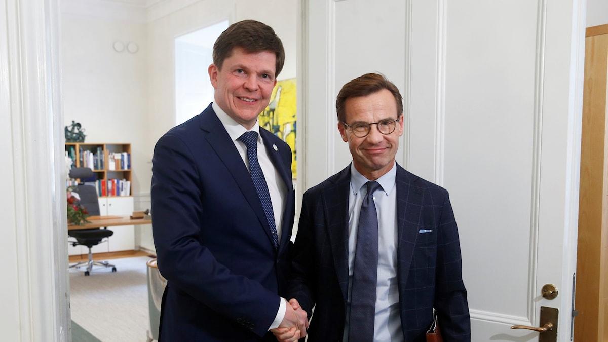 Moderaternas partiledare Ulf Kristersson (M) och riksdagens talman Andreas Norlén.