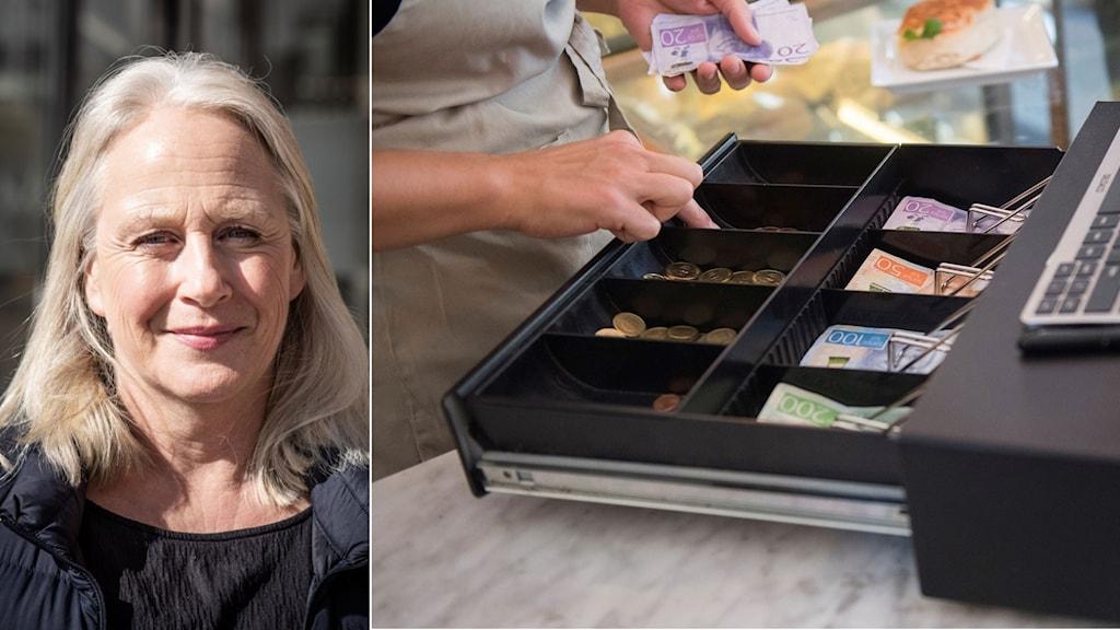 Två delad bild på en Sara Bradnt vice vd Almi och en kassaapparat.