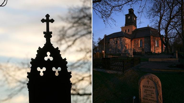 Bild på kors till vänster och kyrka med grav i förgrunden till höger.