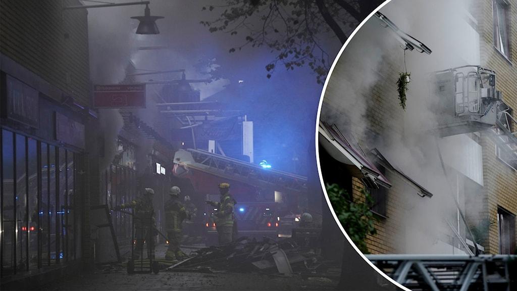 Explosion och brand på Övre Husargatan.