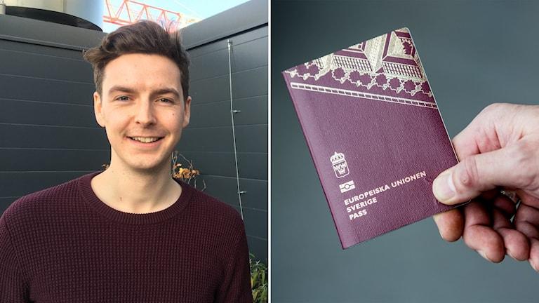 Delad bild: Porträtt av man och ett pass