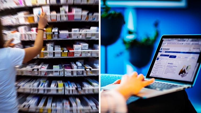Medicin och en dator.