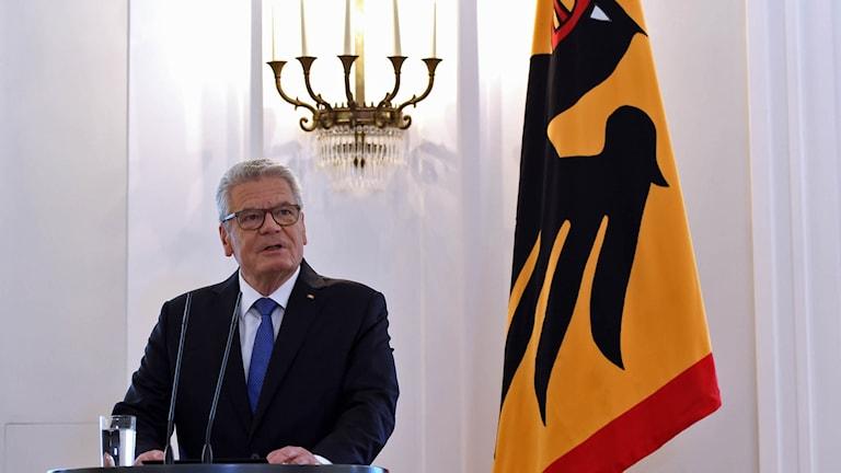 Tysklands president Joachim Gauck under sitt tal idag.
