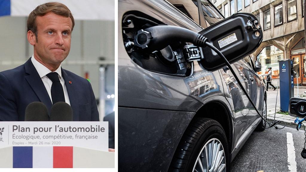 Delad bild på Frankrikes president Emanuel Macron och en elbil som laddas på gatan.
