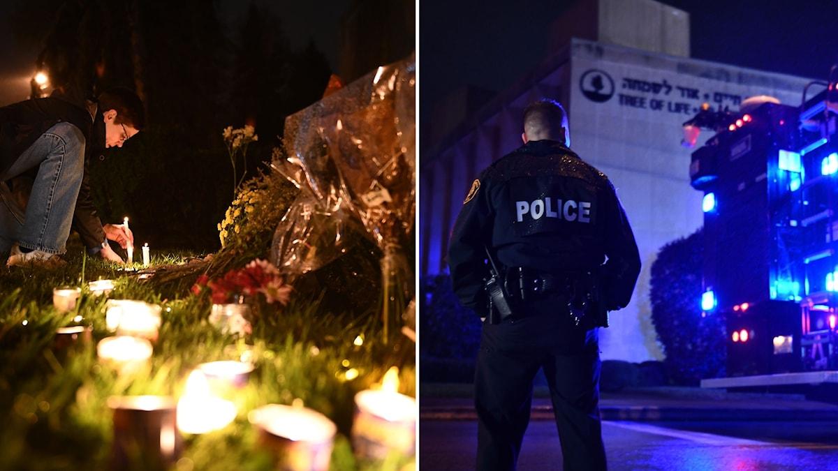 Blommor och ljus utanför synagogan.