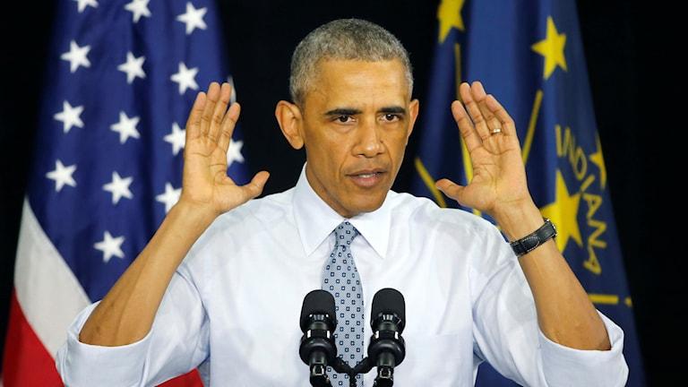 USA:s president Barack Obama under sitt tal i Indiana.