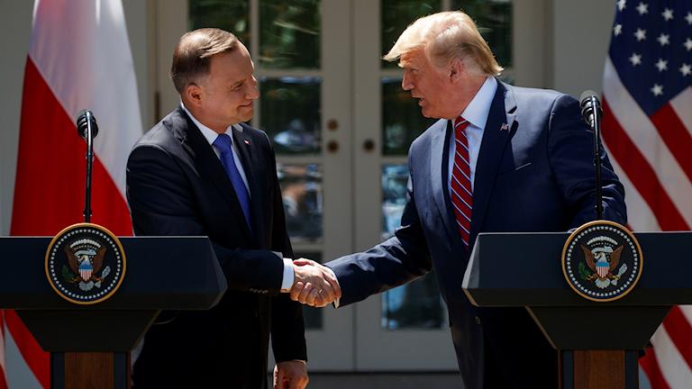 Två presidenter skakar hand.