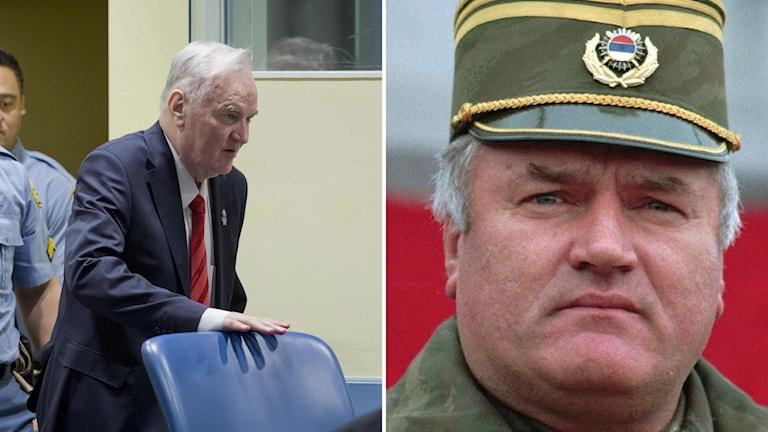 Bildkollage med en man i en rättssal och samma man iklädd uniform