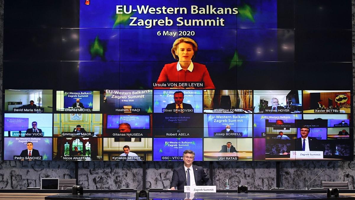 Videokonferens mellan EU:s medlemsländer och länder på västra Balkan som vill bli medlemmar.och flera