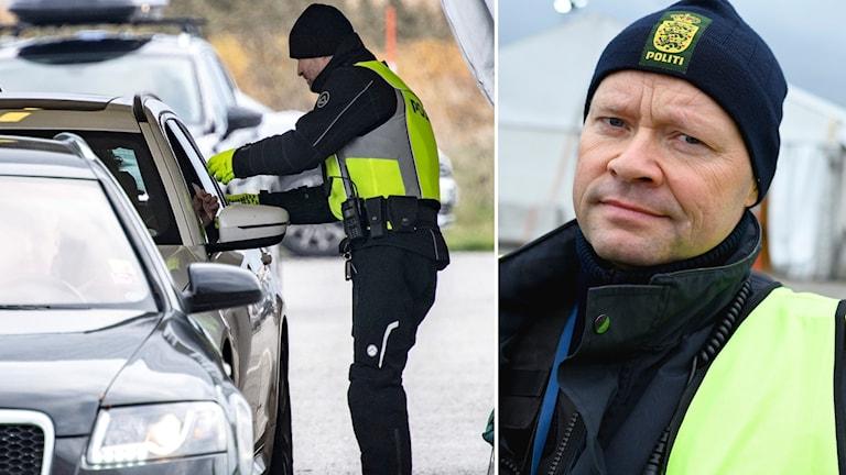 Dansk polis leder av trafiken vid tunnelmynningen på Kastrup då man på tisdagen inledde gränskontrollen av fordon från Sverige.
