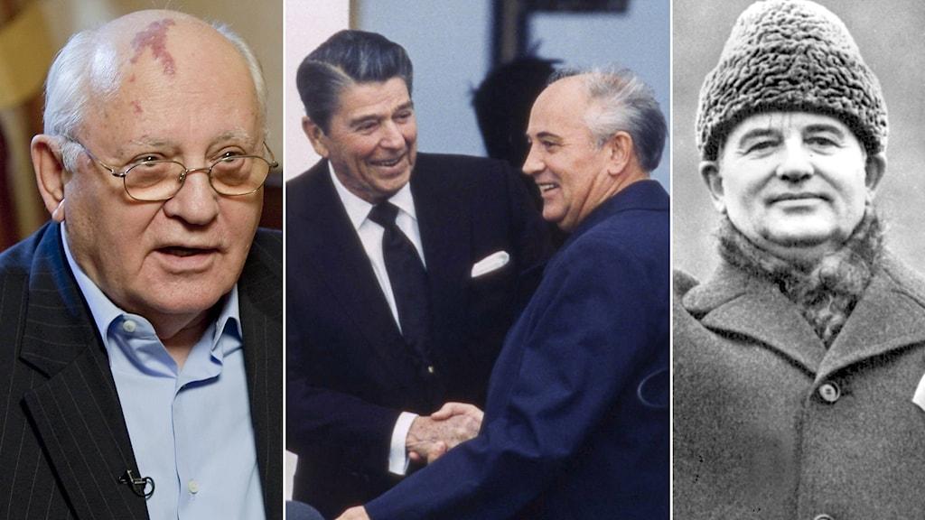 Ett kollage av bilder på Michail Gorbatjov