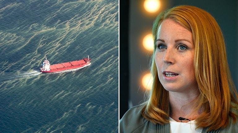 Annie Lööf och ett fartyg som åker genom algblomning
