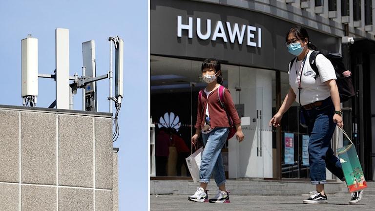 Kollage: 5G-mast och människor utanför en Huawei-butik i Peking.