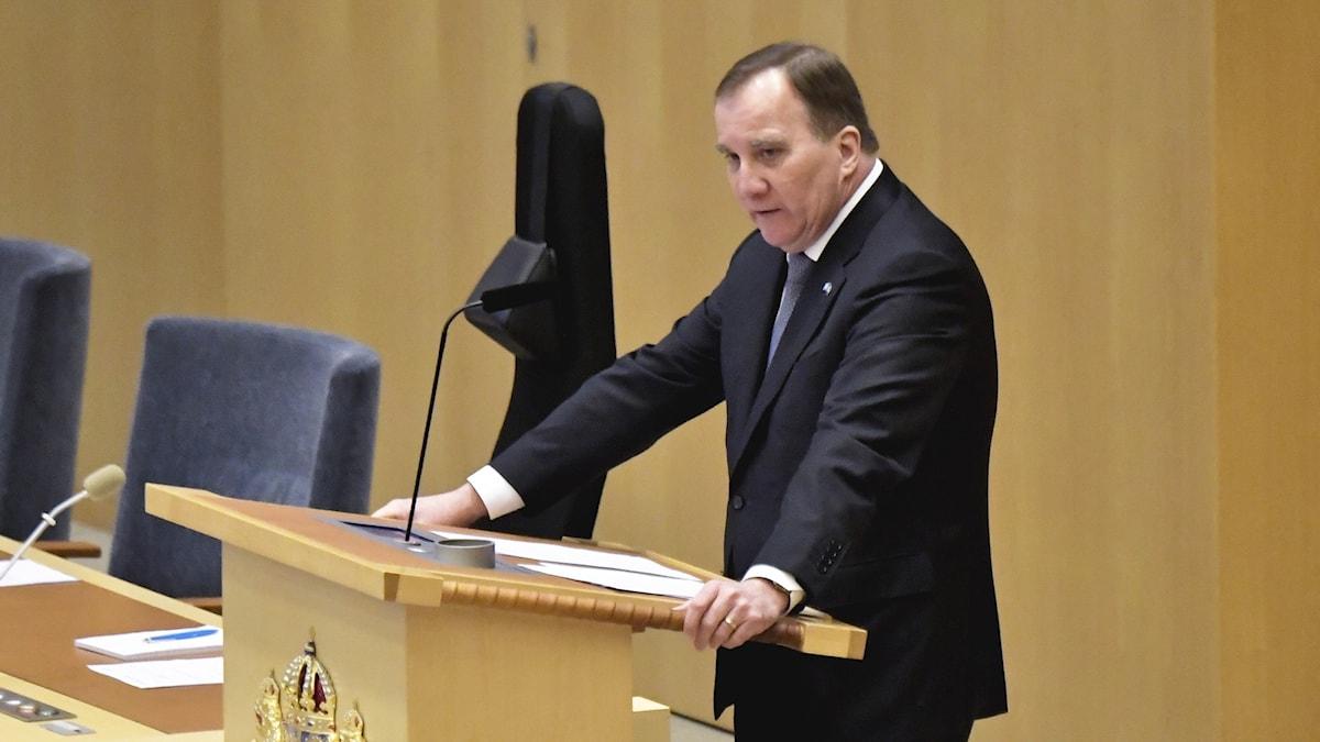 Socialdemokraternas partiledare Stefan Löfven (S) under dagens partiledardebatt i riksdagen.