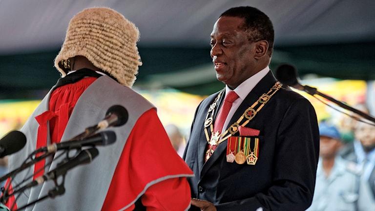 Emmerson Mnangagwa, när han svors in som president förra veckan.