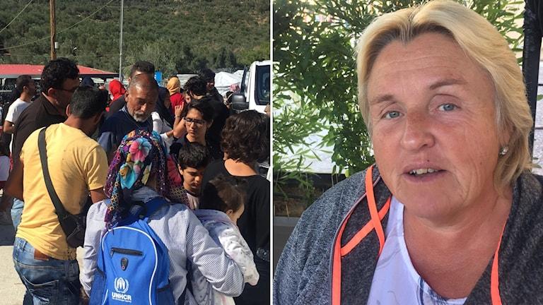Delad bild: migranter och en kvinna