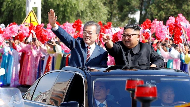 Kim Jong-Un, Moon Jae-In i Pyongyang