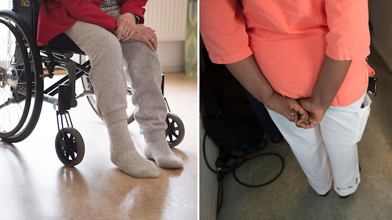 Delad bild: Äldre person i rullstol och en undersköterska.