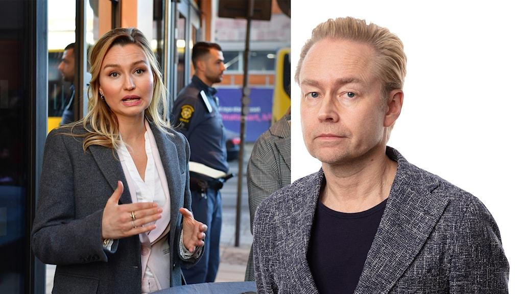 Tillvänster syns Ebba Busch utanför Uppsala Tingsrätt, till höger Ekots inrikespolitiska kommentator Fredrik Furtenbach.