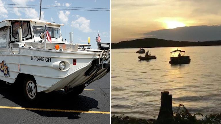 Amfibiefarkosten ser ut som en buss och kan köra både i vatten och på land.