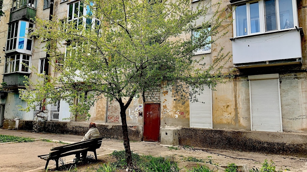 En dam vilar en stund under ett träd i frontstaden Avdiivka