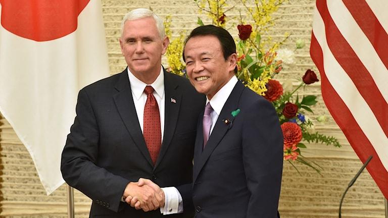Mike Pence, Vice president USA och Taro Aso, vice premiärminister Japan