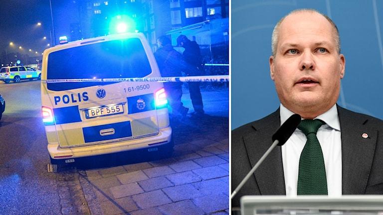 Polisbilar och justitieminister Morgan Johansson.